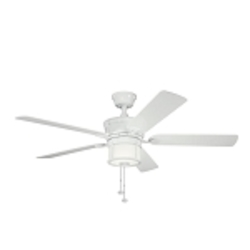 "Deckard Collection 52"" White Outdoor Ceiling Fan with Light Kit 310105WH"