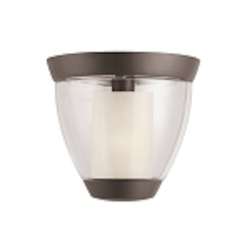 "Circolo Collection 1-Light 10"" Olde Bronze Ceiling Mount with Umber Etched Glass 3695OZ"