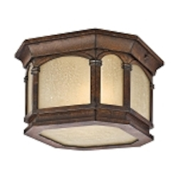 "Lakeway Collection 2-Light 10"" Brown Stone Outdoor Ceiling Light with Umber Etched Seedy Glass 49035BST"