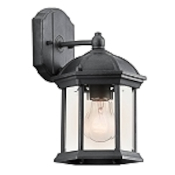 "Barrie Collection 1-Light 10"" Black Outdoor Wall Lantern with Clear Glass 49183BK"