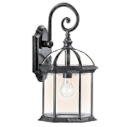 "Barrie Collection 1-Light 19"" Black Outdoor Wall Lantern with Clear Glass 49186BK"