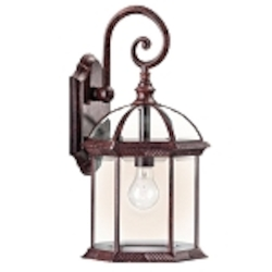 "Barrie Collection 1-Light 19"" Tannery Bronze Outdoor Wall Lantern with Clear Glass 49186TZ"