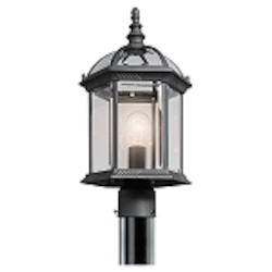 "Barrie Collection 1-Light 18"" Black Outdoor Post Lantern with Clear Glass 49187BK"