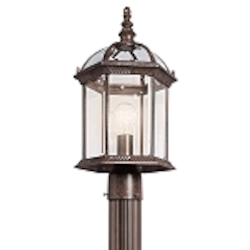 "Barrie Collection 1-Light 18"" Tannery Bronze Outdoor Post Lantern with Clear Glass 49187TZ"