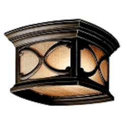 "Franceasi Collection 2-Light 11"" Olde Bronze Outdoor Ceiling Light with Light Umber Seedy Glass 49232OZ"