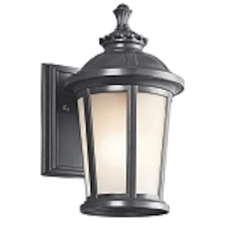 "Ralston Collection 1-Light 10"" Black Outdoor Wall Lantern with Satin Etched White Glass 49409BK"
