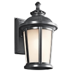 "Ralston Collection 1-Light 14"" Black Outdoor Wall Lantern with Satin Etched White Glass 49410BK"