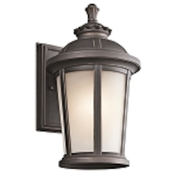 "Ralston Collection 1-Light 14"" Rubbed Bronze Outdoor Wall Lantern with Satin Etched White Glass 49410RZ"
