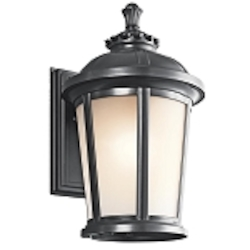 "Ralston Collection 1-Light 16"" Black Outdoor Wall Lantern with Satin Etched White Glass 49411BK"