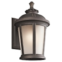 "Ralston Collection 1-Light 16"" Rubbed Bronze Outdoor Wall Lantern with Satin Etched White Glass 49411RZ"