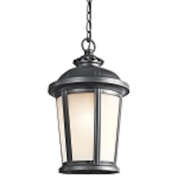 "Ralston Collection 1-Light 17"" Black Outdoor Hanging Lantern with Satin Etched White Glass 49412BK"
