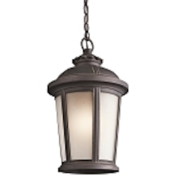 "Ralston Collection 1-Light 17"" Rubbed Bronze Outdoor Hanging Lantern with Satin Etched White Glass 49412RZ"