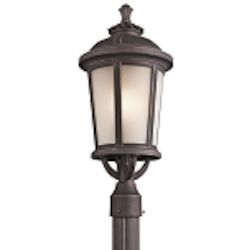 "Ralston Collection 1-Light 22"" Rubbed Bronze Outdoor Post Lantern with Satin Etched White Glass 49413RZ"
