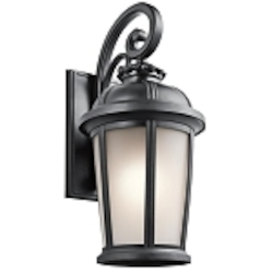"Ralston Collection 1-Light 25"" Black Outdoor Wall Lantern with Satin Etched White Glass 49414BK"