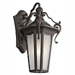 "Nob Hill Collection 1-Light 16"" Rubbed Bronze Outdoor Wall Lantern with Etched Seedy Glass 49416RZ"