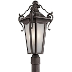 "Nob Hill Collection 1-Light 22"" Rubbed Bronze Outdoor Post Lantern with Etched Seedy Glass 49418RZ"