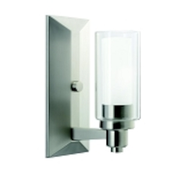 "Circolo Collection 1-Light 10"" Brushed Nickel Wall Sconce with Satin Etched Glass 6144NI"
