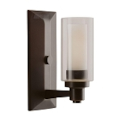 "Circolo Collection 1-Light 10"" Olde Bronze Wall Sconce with Umber Etched Glass 6144OZ"