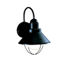 "Seaside Collection 1-Light 12"" Black Outdoor Wall Sconce 9022BK"
