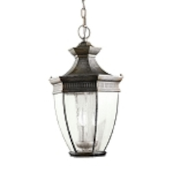 "Warrington Collection 3-Light 19"" Tannery Bronze Outdoor Hanging Lantern 9371TZ"