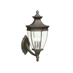 "Warrington Collection 3-Light 24"" Tannery Bronze Outdoor Wall Lantern 9372TZ"