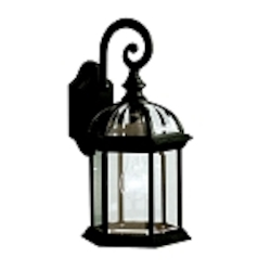 "Barrie Collection 1-Light 15"" Black Outdoor Wall Lantern with Clear Glass 9735BK"
