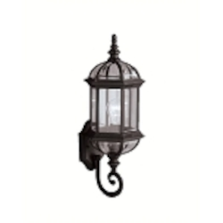 "Barrie Collection 1-Light 21"" Black Outdoor Wall Lantern with Clear Glass 9736BK"
