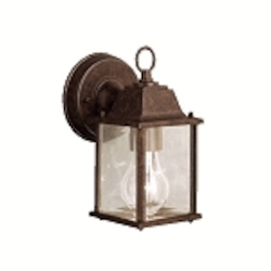 "Barrie Collection 1-Light 8"" Tannery Bronze Outdoor Wall Lantern with Clear Glass 9794TZ"