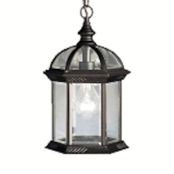 "Barrie Collection 1-Light 13"" Black Outdoor Hanging Lantern with Clear Glass 9835BK"