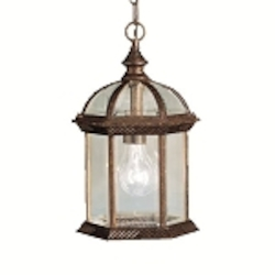 "Barrie Collection 1-Light 13"" Tannery Bronze Outdoor Hanging Lantern with Clear Glass 9835TZ"
