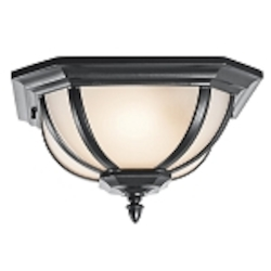 "Ralston Collection 2-Light 13"" Black Outdoor Flush Mount with Satin Etched White Glass 9848BKS"