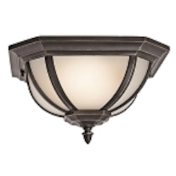 "Ralston Collection 2-Light 13"" Rubbed Bronze Outdoor Flush Mount with Satin Etched White Glass 9848RZS"