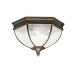 "Warrington Collection 2-Light 12"" Tannery Bronze Outdoor Ceiling Flush Mount 9881TZ"