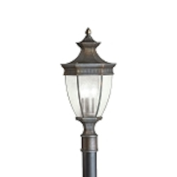 "Warrington Collection 3-Light 25"" Tannery Bronze Outdoor Post Lantern 9898TZ"
