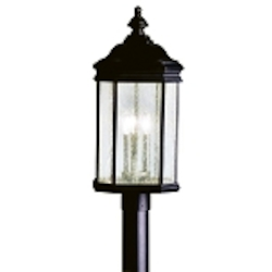 "Kirkwood Collection 3-Light 23"" Black Outdoor Post Lantern 9918BK"