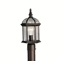 "Barrie Collection 1-Light 16"" Black Outdoor Post Lantern with Clear Glass 9935BK"