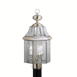 "Embassy Row Collection 3-Light 20"" Antique Pewter Outdoor Post Lantern with Clear Glass 9985AP"