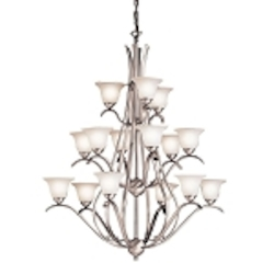 "Dover Collection 15-Light 45"" Brushed Nickel Grand Chandelier with Etched Glass 2523NI"