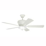 "Dorset Collection 52"" Satin Natural White Ceiling Fan 300152SNW"