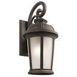 "Ralston Collection 1-Light 25"" Rubbed Bronze Outdoor Wall Lantern with Satin Etched White Glass 49414RZ"
