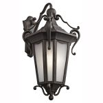 "Nob Hill Collection 1-Light 28"" Rubbed Bronze Outdoor Wall Lantern with Etched Seedy Glass 49420RZ"