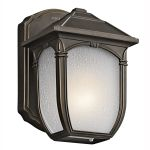 "Lakeway Collection 1-Light 7"" Rubbed Bronze Outdoor Wall Lantern with Etched Seedy Glass 49428RZ"