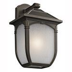 "Lakeway Collection 1-Light 13"" Rubbed Bronze Outdoor Wall Lantern with Etched Seedy Glass 49430RZ"