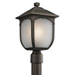 "Lakeway Collection 1-Light 16"" Rubbed Bronze Outdoor Post Lantern with Etched Seedy Glass 49431RZ"
