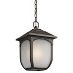 "Lakeway Collection 1-Light 13"" Rubbed Bronze Outdoor Hanging Lantern with Etched Seedy Glass 49432RZ"