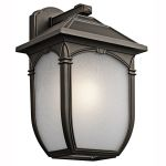 "Lakeway Collection 1-Light 17"" Rubbed Bronze Outdoor Wall Lantern with Etched Seedy Glass 49433RZ"