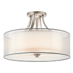 "Lacey Collection 4-Light 20"" Antique Pewter Semi-Flush with Satin-Etched Cased Opal Inner Diffusers and White Translucent Organza Outer Shades 42387AP"