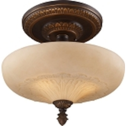 "Restoration Collection 3-Light 15"" Antique Golden Bronze Semi-Flush with Antique Ivory Glass 08094-AGB"