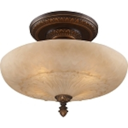 "Restoration Collection 4-Light 19"" Antique Golden Bronze Semi-Flush with Antique Ivory Glass 08095-AGB"