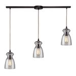 "Menlow Park Collection 3-Light 36"" Oiled Bronze Linear Pendant with Clear Blown Glass 60043-3L"